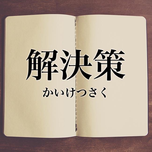 解決策」の意味・読み方・類語・英語【使い方や例文】 | Meaning-Book