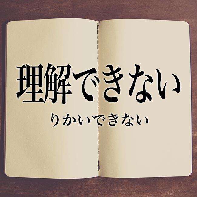 理解できない」とは?意味や類語!例文や表現の使い方 | Meaning-Book