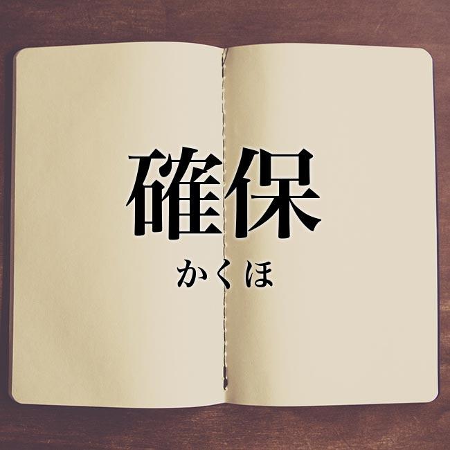 確保」とは?意味や使い方!例文や解釈   Meaning-Book