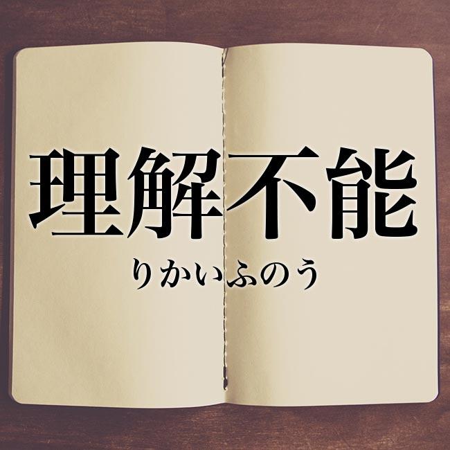理解不能」とは?意味や類語!例文と解釈 | Meaning-Book